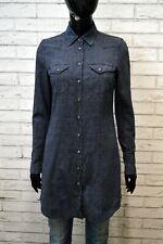 GAS Vestito Jeans Camicia Lunga Donna Taglia S Abito Dress Robe Blu Cotone