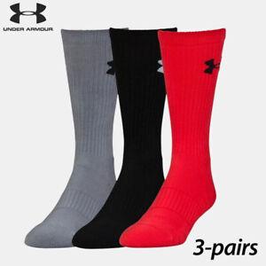 UA Socks: 3-PAIR Elevated Perf. Crew (L) Rocket/ASSTD