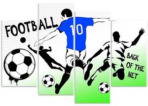 Graffiti Footballer Boys 4 Panel Football Sport Canvas Wall Art Print Picture