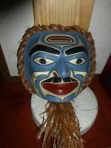 "Northwest Coast Salish Hand Carved Cedar ""Moon"" Mask-Rand Stiglitz!"