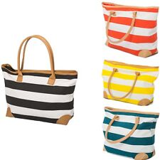 Beach Bag Womens Ladies Large Striped Summer Shoulder Shopper Tote Canvas Bags