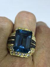Deco Genuine Blue Topaz Vintage Golden 925 Sterling Silver Size 7 Ring