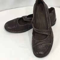 Clarks Bendables Mary Jane Slip On Shoes Loafers 8.5 Brown Tumbled Leather