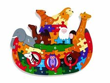Alphabet Jigsaws - Wooden ABC/Numbers Puzzle - Noah's Ark - Chunky & Bright