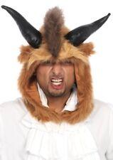 Beast Hood Br / Marrón Piel Sintética Capucha Animales con / Cuernos Personaje