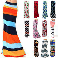 Womens Boho High Waist Bodycon Maxi Floral Wrap Dress Pencil Tube Full Skirt