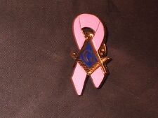 Masonic Breast Cancer Awareness Square Compass Lapel Tac Pin Pink NEW!