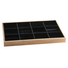 Bamboo Wood Jewelry Display Stand For Pendant Necklace Black 12 Grids