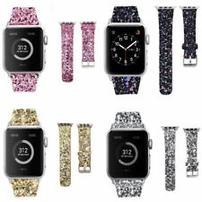 Apple Watch Band Leather Glitter Wrist Strap Bling Series 1 2 3 4 42/38 44/40mm