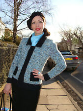 Vintage 1940s-1950s style cardigan jacket hand knitted Chanel blue black size S