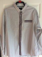 RIVER ISLAND Men's Striped Size 2XL Long Sleeve Shirt 100% Cotton  pit to pit 24