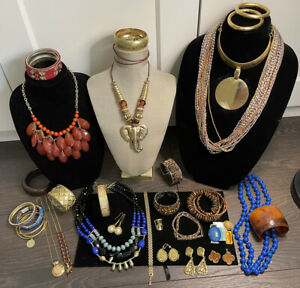 Large Vintage To Now Estate Antique Look Blue Orange Gold Tone Jewelry Lot