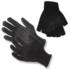 Black Gripper Gloves Full & Half Finger Fingerless Grip Adults Mens One Size