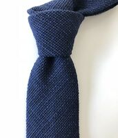 New $160 Drake's London Tie ELEGANT STYLE Navy Woven Silk England Untipped