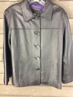 Mossimo 127 Black Leather Button Down Jacket Women's M