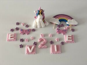 Unicorn rainbow personalised cake topper birthday decoration handmade edible