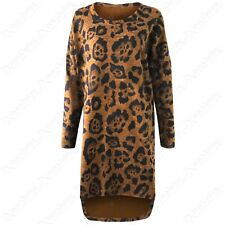 NEW LADIES OVERSIZED PLUS SIZE LEOPARD ANIMAL PRINT WOMENS LONG TOP HI LO JUMPER