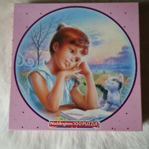 Waddingtons 100 pieces ROUND Circle Jigsaw Puzzle MARTINE Girl Sky Book Cat 1986