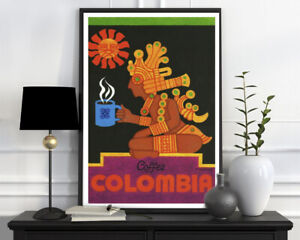 Coffee Colombia Drink Vintage Retro Poster Wall Art Home Interior Wall Decor A4
