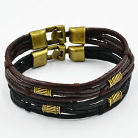 Fashion Men's Braided Leather Stainless Steel Cuff Bangle Bracelet Wristband