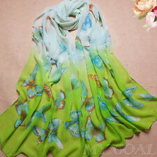 green Butterfly Chiffon Kaftan Tunic Scarf Dress Tops Wing Beach Up Cover Swim