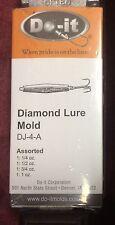 Do-It DIAMOND LURE 4 CAVITY MOLD 1/2, 3/4, 1/4 & 1 OZ  DJ-4-A Brand New Free S/H