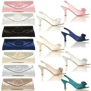 WOMEN LADIES LOW KITTEN HEEL BRIDAL PROM PARTY BRIDESMAID SANDAL SHOES SIZE 3-8