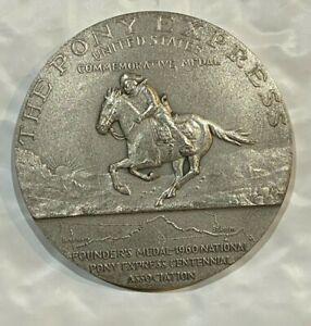 1960 Founders of the Pony Express Large Silver Medallion 4.6 Ounces of .900 (C)