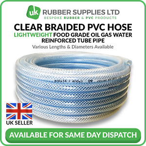 Clear PVC Braided Hose Pipe Lightweight Food Grade Air Water Oil Reinforced