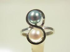 Akoya élevage Perles Diamant Bague 585 WG Avec Bleu & Blanc Perle années 70 ans