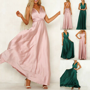 New#Formal  Evening Dress Convertible Multi Way Wrap Bridesmaid Satin Sundress