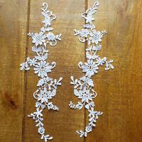 Guipure Lace Motif - Floral Applique - A Pair - Bridal - 11.5cm x 35cm - MP02