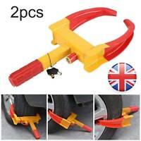 2PCS Wheel Clamp Lock For Cars Trailer Caravan Security Anti Theft Locking UK