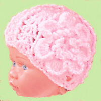 HANDMADE CROCHETED BABY GIRLS HAT 0-2 YEAR OLD shower gift knit photo prop pink