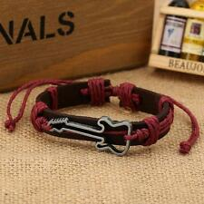 Unisex Men Girl Hollow Guitar Badge Leather Bracelet Music Jewelry Cool Rope oo