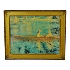 "Vintage Gold Gilt Framed Renoir ""Boating On The Seine"" Print on Board"