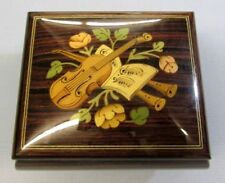 SORRENTO INLAID WOOD MUSIC BOX HANDCRAFTED ITALY LARA'S THEME VIOLIN MUSIC SHEET