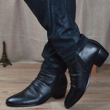 Zapatos de vestir para hombres Cuero Plisado Puntera Puntiaguda tobillo Botas de Montar Cremallera Cubano Tacón