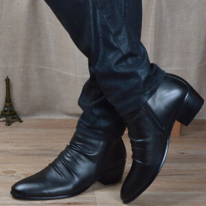 Mens Pleated Leather Pointy Toe Ankle Riding Boots Zipper Cuban Heel Dress Shoes