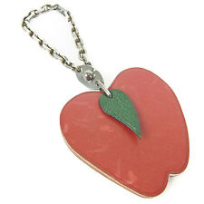 Auth HERMES Logos Apple Key Chains Key Finder Ring Charm Red F/S 15800eSaBM