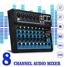 8 Kanal USB Mixer Live Studio Audio Interface Mischpult Konsole Phantomspeisung