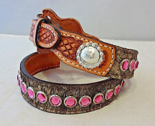 New Double J Saddlery Belt Western Hair On Leather Pink Crystals Rhinestones 28