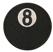 """3"""" Black 8-Ball Billiards Eightball Pool Game Embroidered Iron On Applique Patch"""