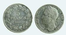 pcc1941_2) BELGIO - Leopoldo I (1831-1865) - 5 Franchi - 1832 - AG