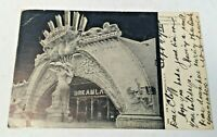 Antique Postcard Entrance to Dreamland Coney Island NY Glitter Posted 1907 PC