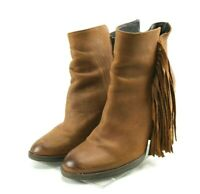 Steve Madden Woodstock $120 Women's Fringe Booties Boots Size 10 Brown Leather