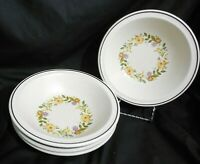 4pc NIKKO BUTTERCUP FLOWER CHINA STONEWARE SALAD CEREAL DESSERT SOUP BOWLS 7-1/4