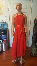 Women Summer Ocassion Dress Chiffon Sleeveless Red Long Dress Satin Belt size XL