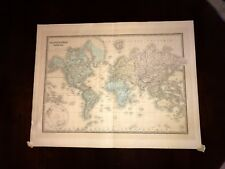 Antique world Map 1860 Paris Planisphere Terrestre US Europe Atlas