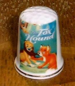 "The Fox Hound Movie Thimble 1"" tall New Bone China Fine Porcelain"